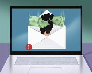 Hand clutching money in email on computer screen