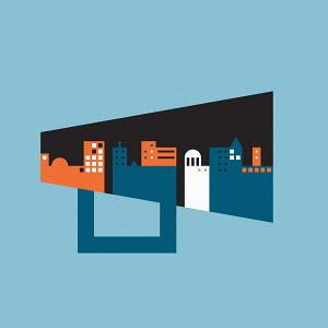 City skyline on megaphone