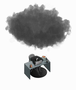 Businessman slumped over desk under black cloud