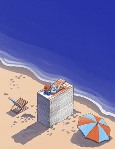 Woman sunbathing on beach on top of pile of money