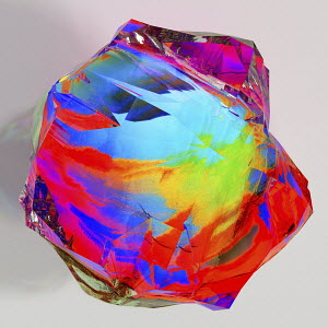 Close up computer generated multi coloured gemstone