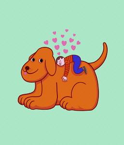 Small boy loving pet dog