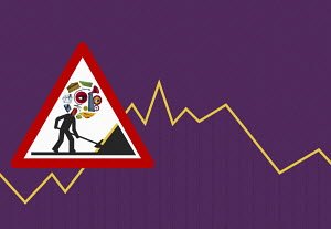 Men at work economic warning sign on line graph