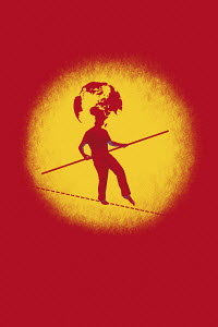 Man walking tightrope with globe head