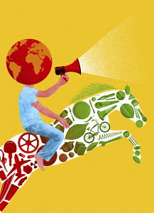 Man with globe head and megaphone riding horse of red and green items