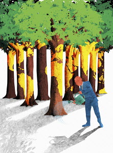 Businessman watering world map forest