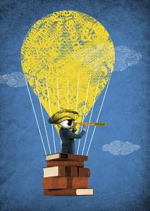 Businessman looking through telescope hot air balloon made from books