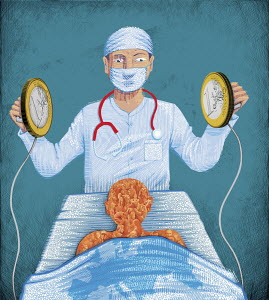 Doctor using euro coin defibrillator to stimulate the economy