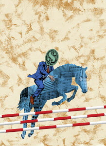 Businessman with dollar sign head riding office block horse over jumps