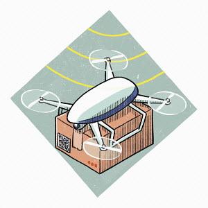 Drone delivering parcel