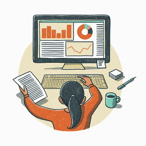 Little girl analysing data using computer