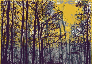 Yellow sky through autumn trees