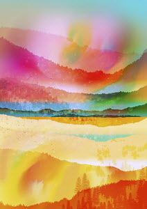 Multi coloured abstract landscape