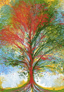 Multi coloured tree
