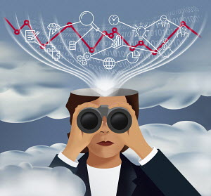 Businesswoman looking through binoculars with head analysing business data