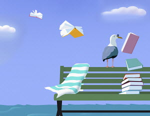 Seagull wearing glasses as books fly into sky