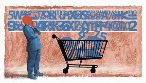 Businessman choosing numbers and symbols for shopping trolley