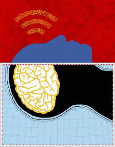 Wifi signal above man with map brain