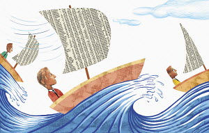 Anxious businessman in stock market boats on stormy sea