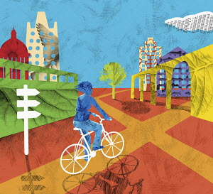 Woman cycling into green city