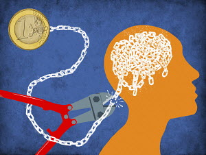 Cutting chain connecting euro coin to man's brain