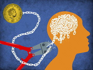 Cutting chain connecting pound coin to man's brain