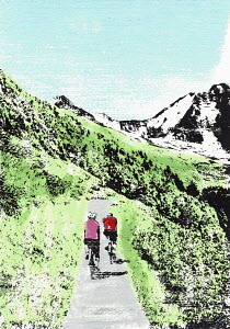 Cyclists riding on mountain path
