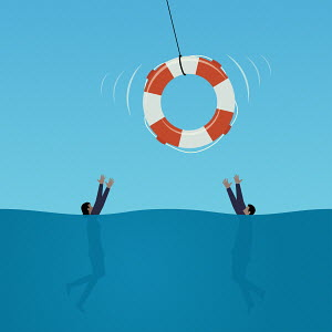 Life belt being thrown to drowning businessman and businesswoman