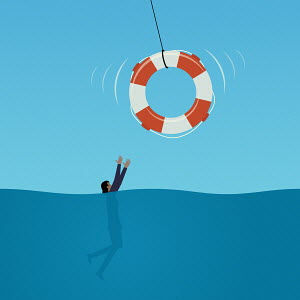 Life belt being thrown to drowning businesswoman