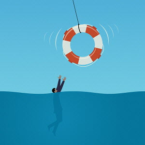 Life belt being thrown to drowning businessman