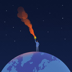 Man holding distress flare on top of globe