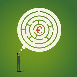 Man thinking about finding euros in maze thought bubble