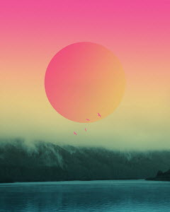 Huge sun in pastel coloured sky above lake