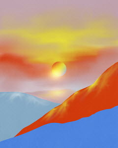 Sun above abstract landscape