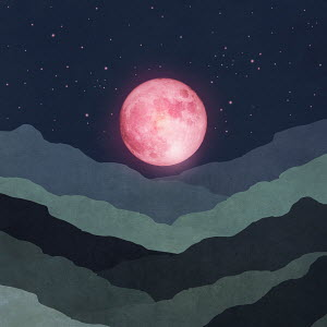 Pink moon above abstract landscape