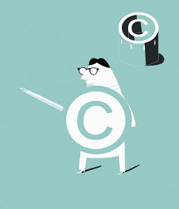 Man with pen as sword and copyright shield