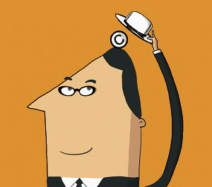 Businessman with copyright symbol under hat