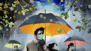 People wearing face masks and holding umbrellas in coronavirus storm