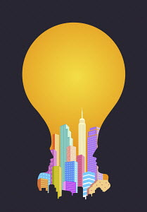 City skyscrapers in light bulb formed by two profiles