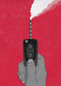 Pollution from smokestack on car key