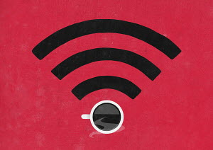 Coffee cup in wifi symbol