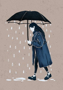 Depressed girl with rain falling below umbrella