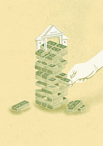 Bundles of money in bank building block removal game