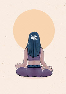 Woman with button on mute while meditating