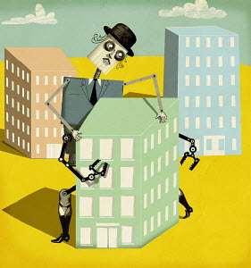 Robot businessman grasping office block