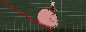 Man riding piggy bank sliding down graph