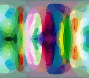 Merging multi coloured abstract shapes