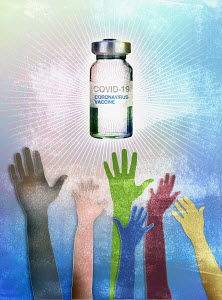 Hands reaching for coronavirus vaccine