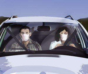Couple in car wearing masks