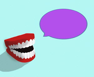 Laughing fake teeth with speech bubble